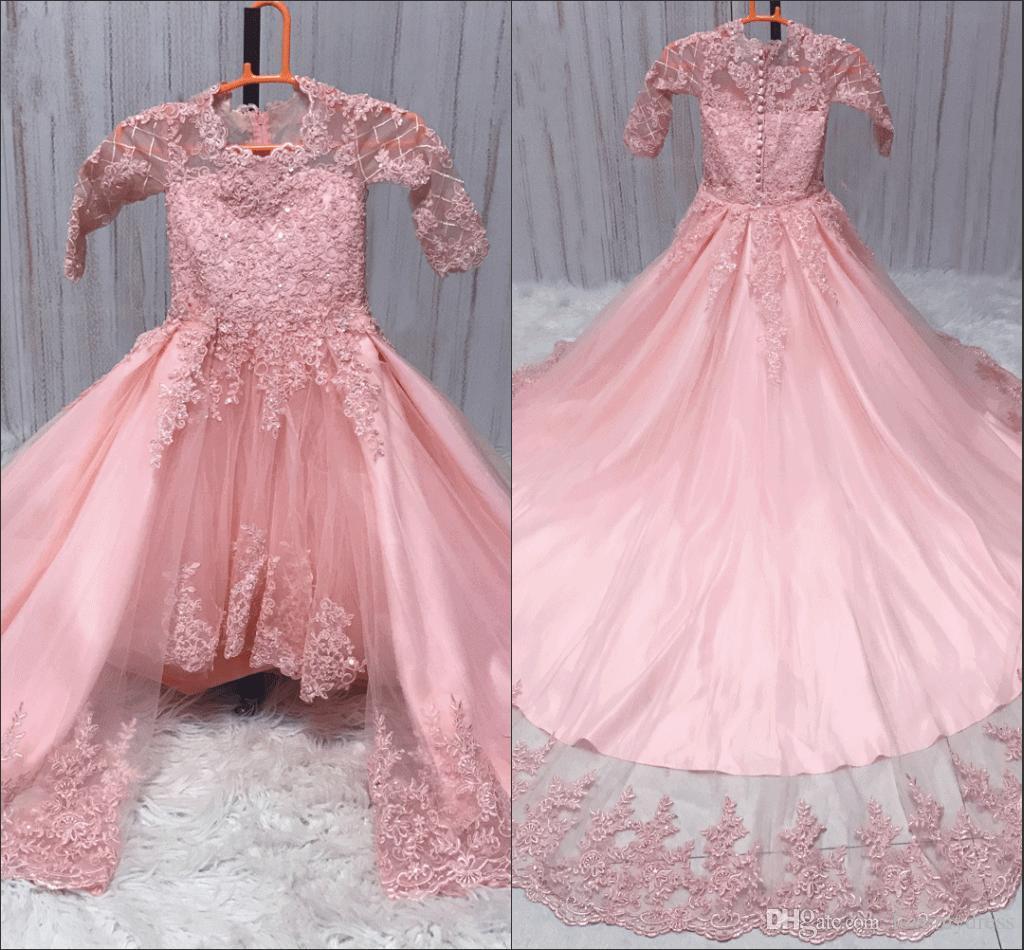 2019 rose détachable train filles robes de reconstitution historique manches longues haut bijou de dentelle appliques perlée fleur robes fille robe de soirée enfants en bas âge