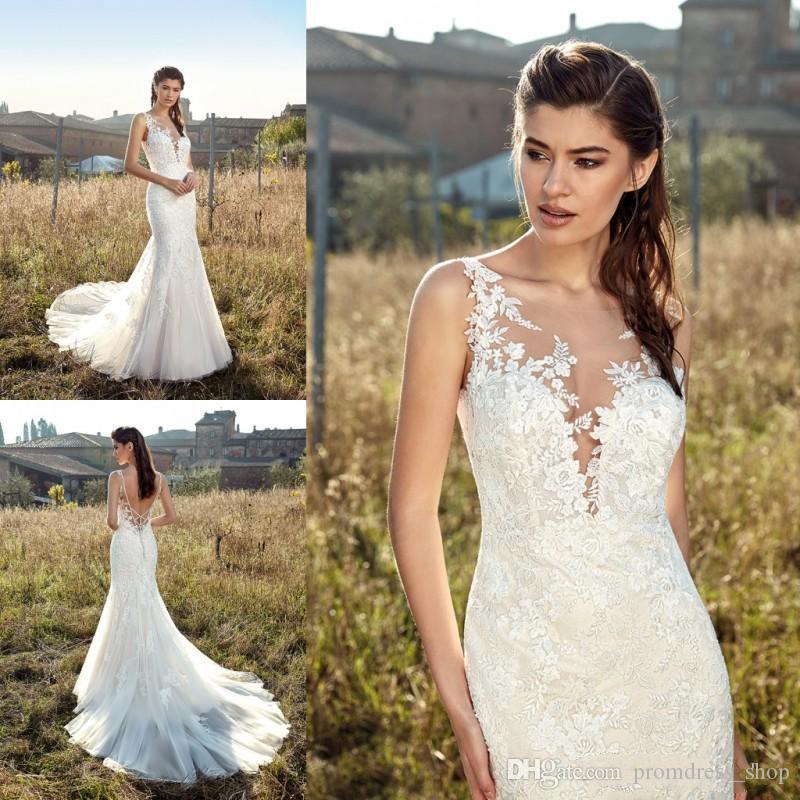 2019 Abiti da sposa a sirena Pizzo Appliques Sheer Jewel Neck Robe De Mariee Plus Size Abito da sposa Abiti da sposa