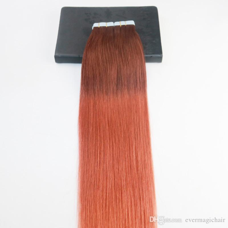 الشريط في الشعر التمديدات 14-24 بوصة أومبير # 33 يتلاشى إلى 350 # brzailian ريمي الشعر مجموعة كاملة لحمة الشعر ملحقات الشعر 40Pcs 100G لكل حزمة