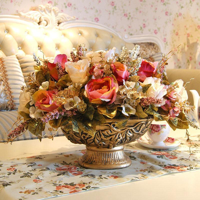 European Classical Luxury Ceramic Vase+Peony Artificial Flower Set Figurines Decoration Craft Home Livingroom Desktop Ornament