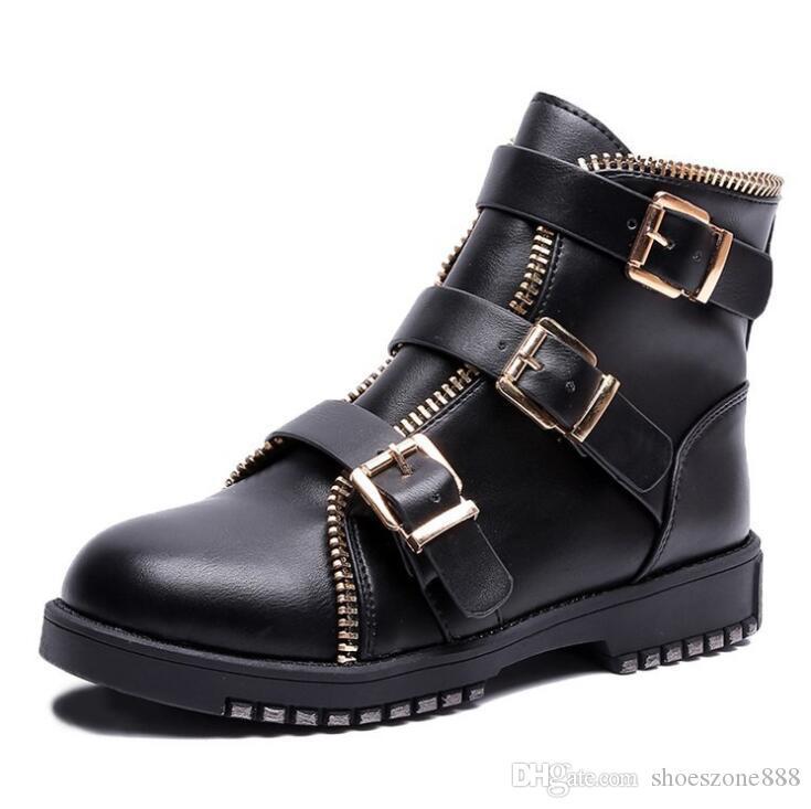 kaufen britischen stil pu leder stiefeletten schnalle herbst winter kurze stiefel schuhe für frauen low heels zx976