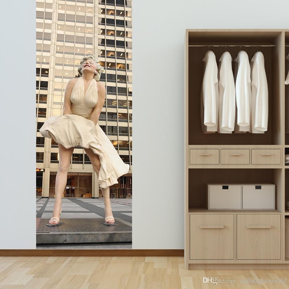Deco Chambre Maryline Monroe acheter / set creative diy 3d porte autocollants sexy marilyn monroe motif  pour la décoration accueil enfants porte chambre accessoires de grande