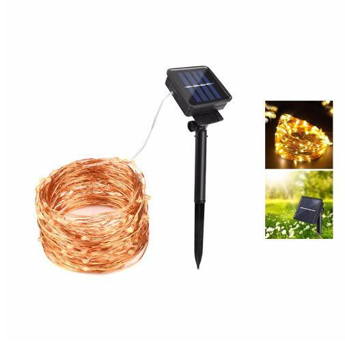 태양 광 LED 휴일 빛 구리 와이어 LED 스트링 야외 램프 장식 정원 잔디 웨딩 파티 크리스마스 10M 20M 요정 조명