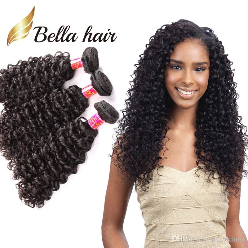 Bella ® 8a 8 ~ 30INCH BRAZILIANHAIR BUNDLES Obearbetat Human Hair Double Weft Hair Kinky Curly Weave 3pc / Lot Black Color Extensions