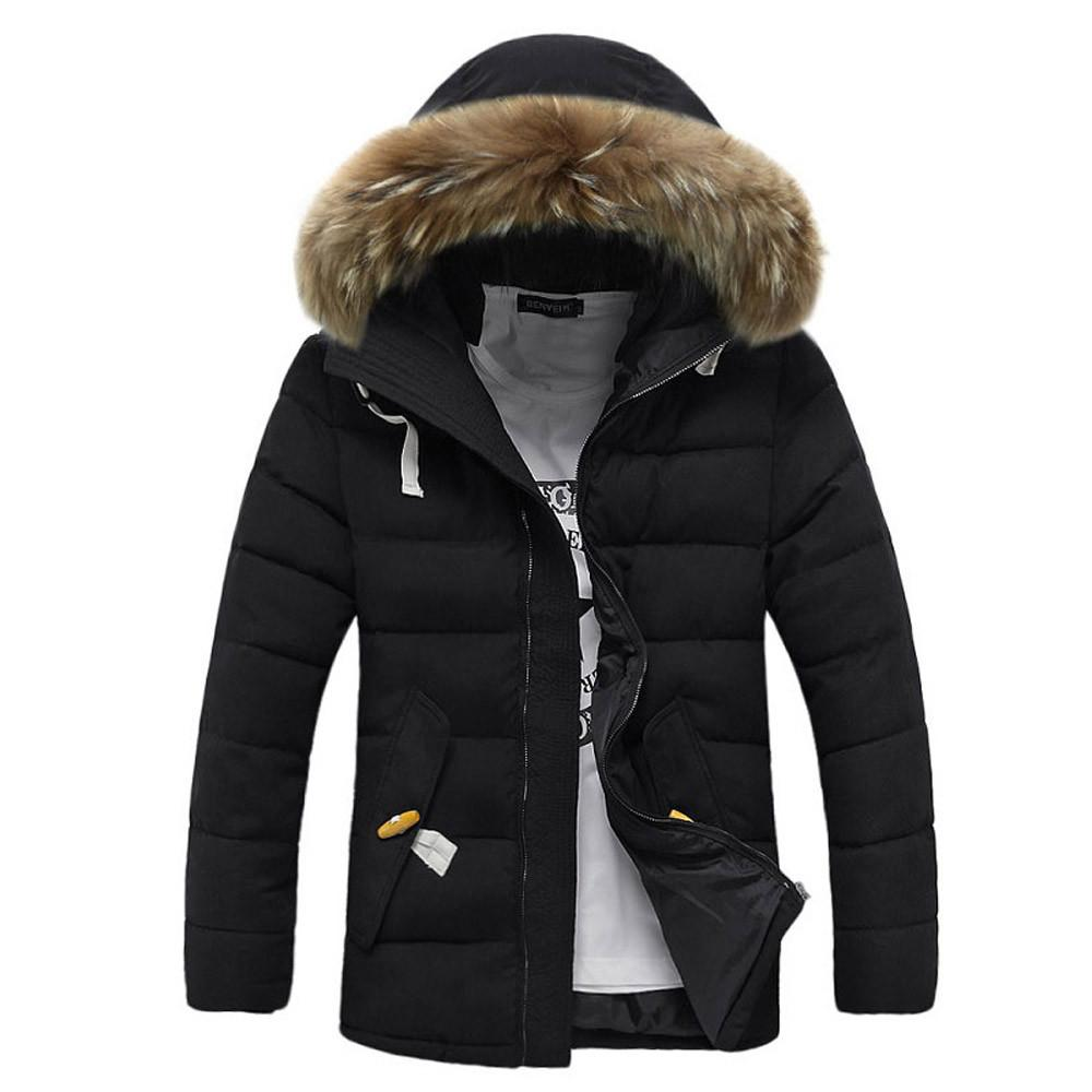 Men Winter Long Sleeve Hooded Pocket Thickening Coat Outwear Top Blouse parka Trench Coat Outerwear Men Casual kurtka zimowa