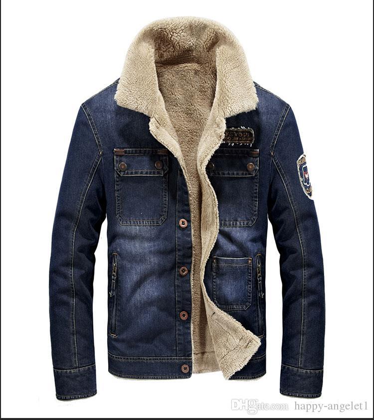 Polaire Denim Veste D'hiver 2018 De Mode De Haute Qualité Plus La Taille Épaisse Polaire Pilote Denim Veste Manteau Hommes M