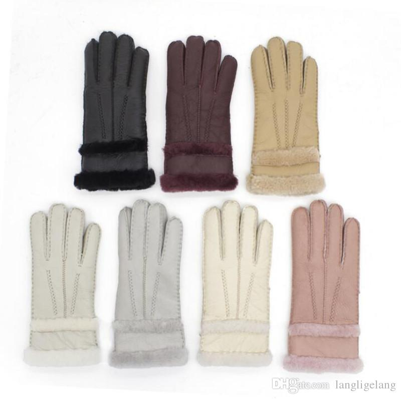 Free Shipping Women Sheepskin Gloves Fur Leather Mittens Sheep Leather Gloves Solid Color Winter Outdoor Warm Windproof Gloves ST-W014