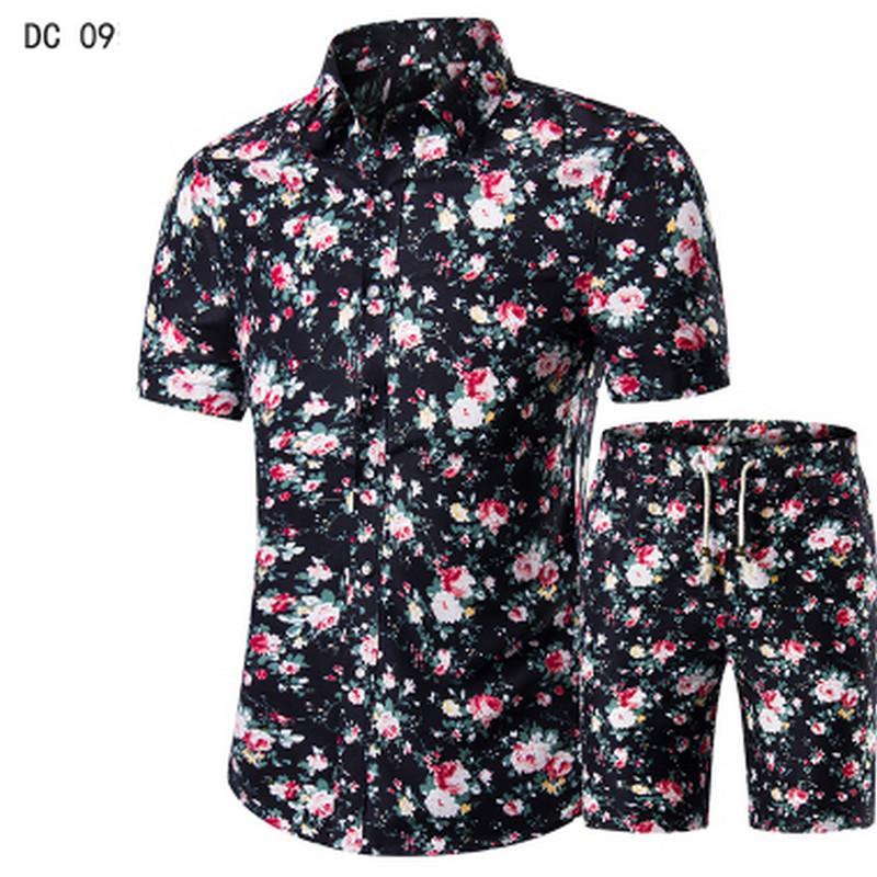 2018 neue Mode Anzug und Hemd Anzug, Herrenhemd + Shorts sommer lässige Marke