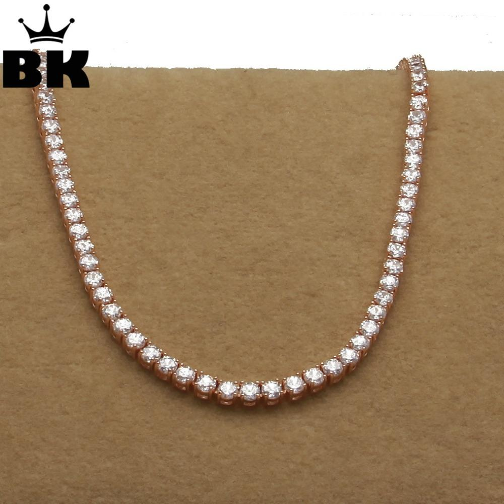 THE BLING KING 1 Row Rose Gold 5mm CZ Tennis Chain Necklace Copper Hip Hop Round Cut Iced Out Cubic Zirconia Mens Jewelry