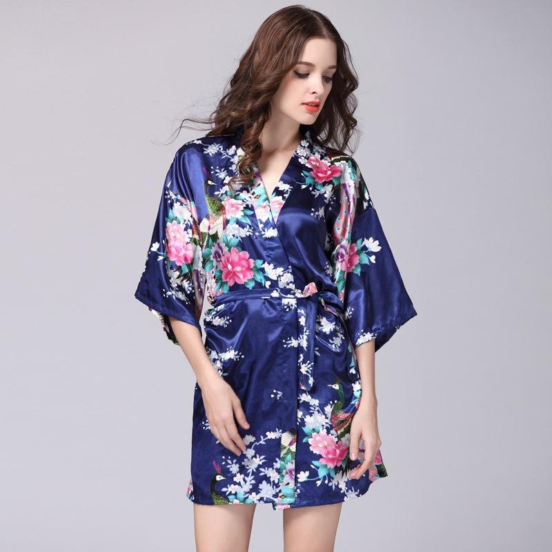 Peacock Gown Sleeve Woven Silk Pajamas Bathrobes Women Summer Silk Single Nightgown Tracksuit32