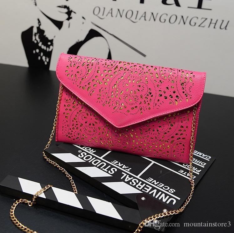 Top Vintage Hollow Out Envelope Bags Small Women Leather Crossbody bag For girl Shoulder bag Messenger bag Clutch Handbags Purses