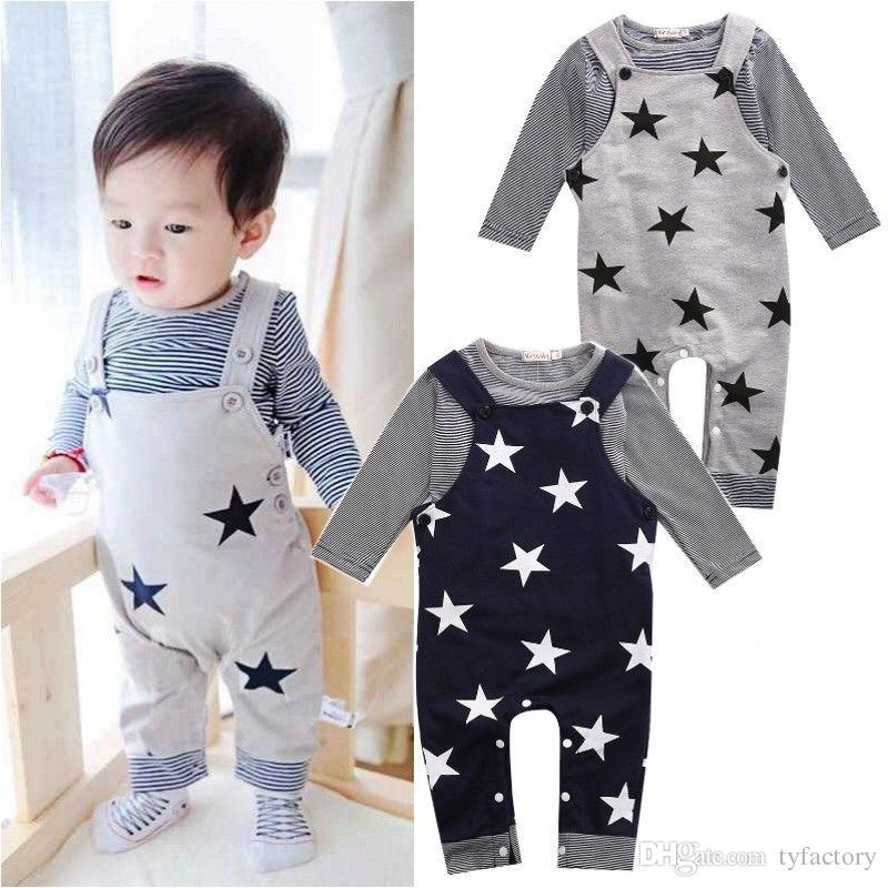 Baby Boy Girl Toddler Striped T-shirt Star Jumpsuit Outfit 2-piece set Long Sleeve Navy Gray Two Colors Baby Playsuit Cute Kid Clothing Suit