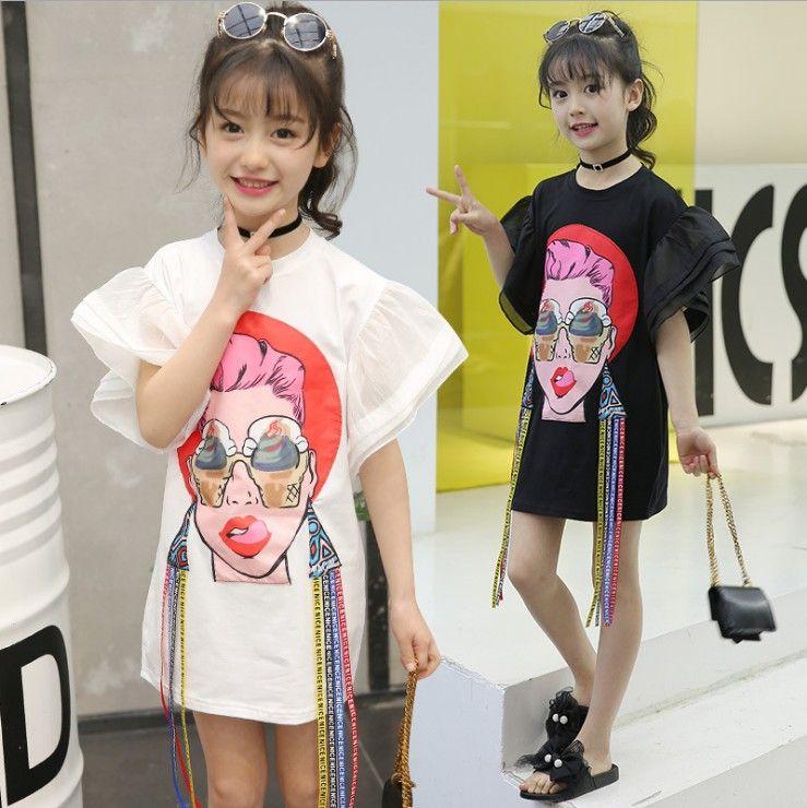 Big Girls T-shirt fashion 2018 kids girls clothing mouth beautiful woman Printed Tassel Flare Sleeve Children Tops Summer Casual Dress C3498