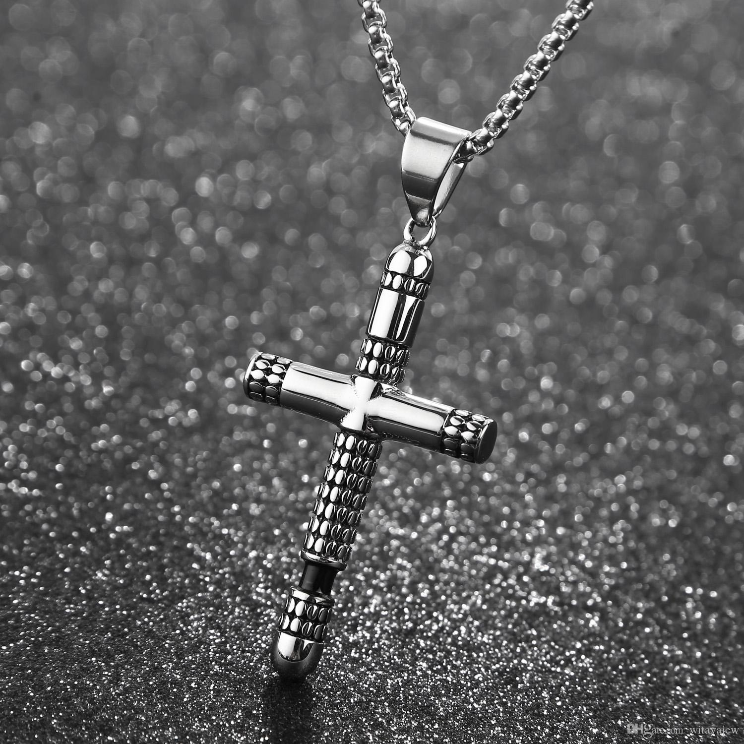 Fashion Cross Pendant Necklace Stainless Steel Crucifix Necklace for Christian Jewelry