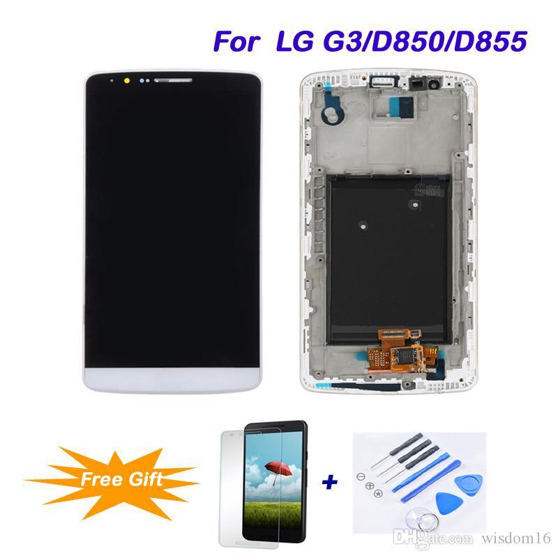 Para lg g3 / d850 / d855 substituição lcd melhor qualidade lcd tela de toque digitador assembléia lcd tela de toque ferramentas de reparo completo