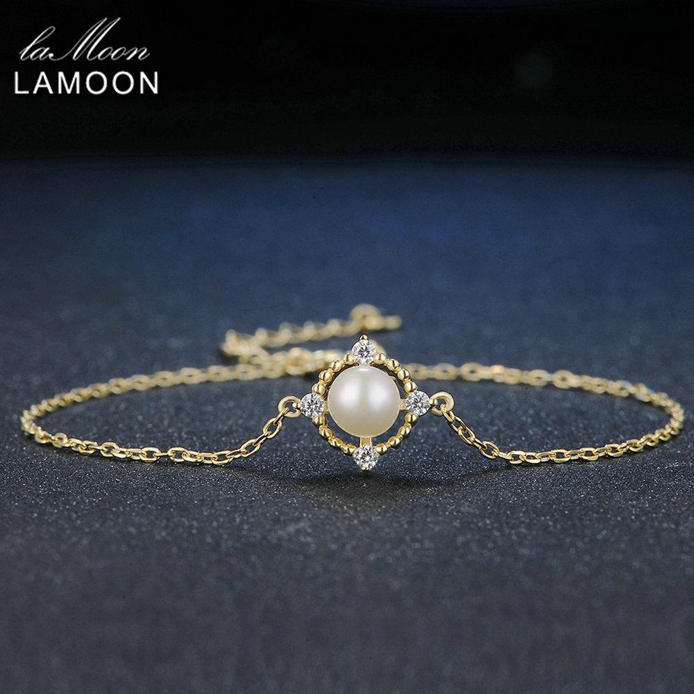 Lamoon FullMoon 100% Natural Bead Pérola De Água Doce de 925 Jóias de Prata Esterlina Cadeia Charme Pulseira S925 LMHI014Y1882701