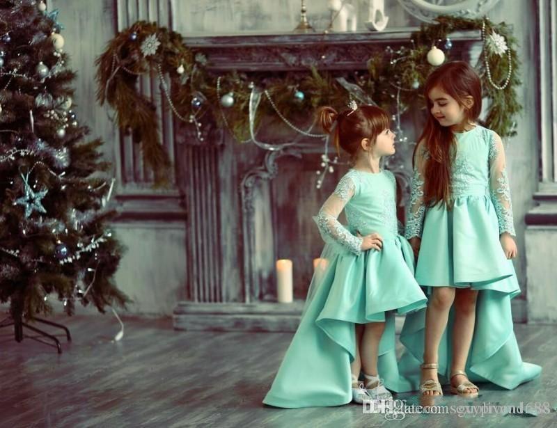 Turchese Alto Basso ragazze Pageant abiti Appliques del merletto Sheer maniche lunghe Abiti da sposa per il vestito da festa nuziale di compleanno del bambino