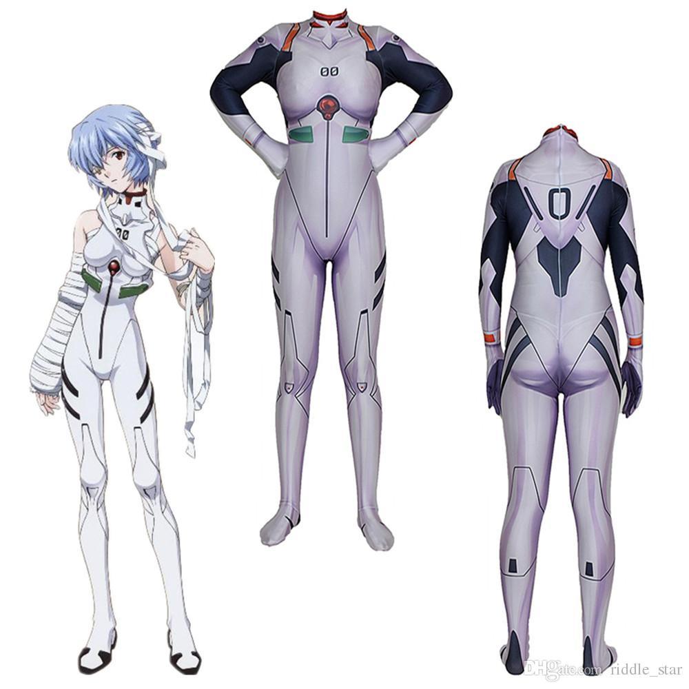 El tamaño asiático Japón animado Rei Ayanami EVA Catsuit cosplay Lycar Spandex Zentai del partido del super héroe del mono Bodysuit