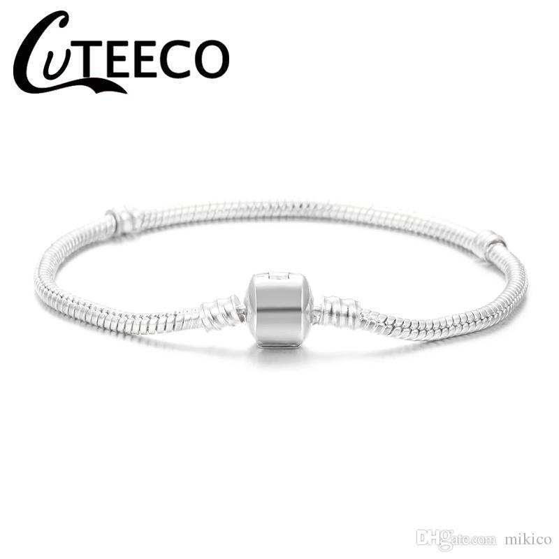 Wholesale 10 pcs/Set Silver Snake Chain 3MM 17cm-21cm European Charm Bracelet Jewelry For Women Jewelry Accessories