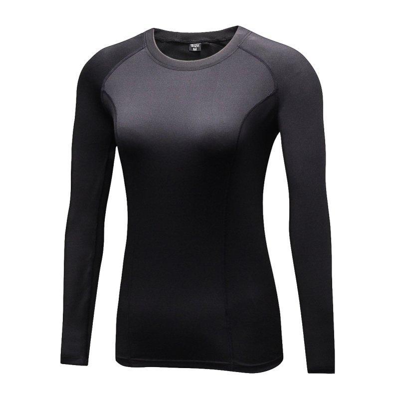 Camiseta para mujer Moda Fast Seco Mujeres Capa de compresión Capa de camiseta de manga larga X01