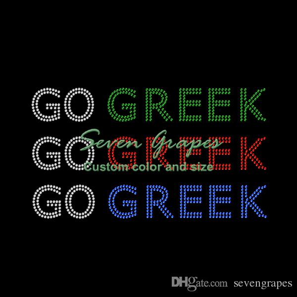 Color Go Greek Letter Iron On Rhinestone Transfer For T Shirt