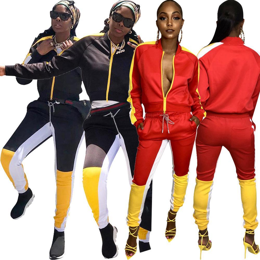 Высокое качество осень новый 2 шт. Набор женщин длинный Sleve куртка пальто и брюки повседневная лоскутное плюс размер женщин набор S XXL XXXL