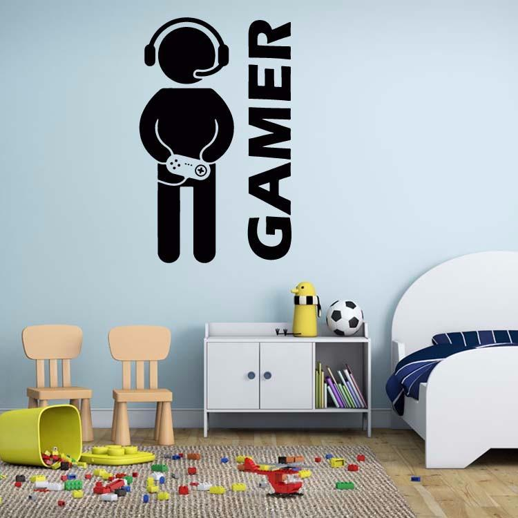 Video Game Gamer Joystick Wall Decal Wall Stickers Room Decor Art Decals Removable Vinyl Wallpaper decoration