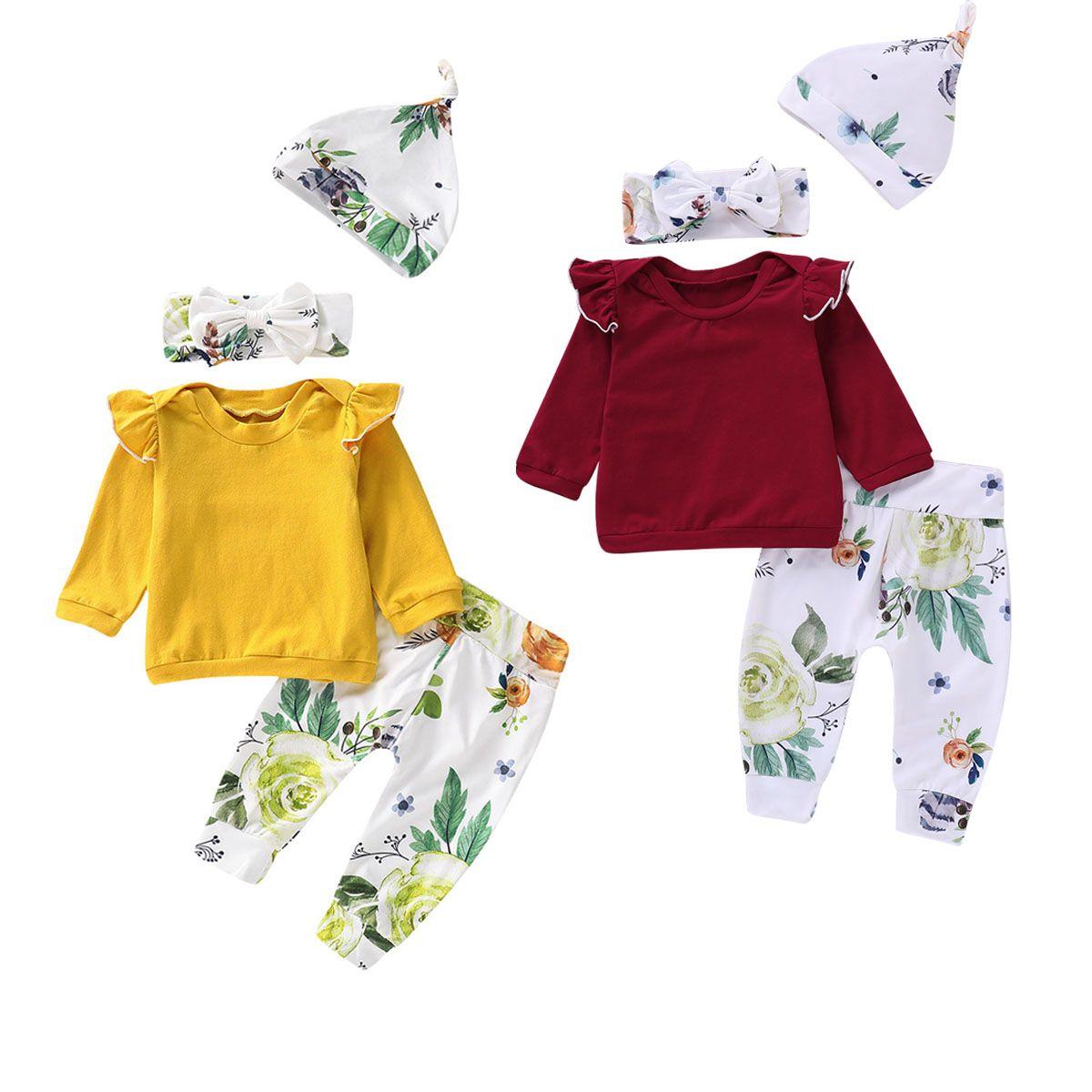 Mikrdoo Toddler Newborn Baby Girls New Arrival Clothes Set Long Sleeve Ruffle Top Floral Print Pant Hat Headband 4PCS Sprint Autumn Outfit