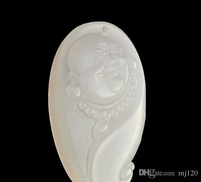 Natural afegão branco jade cabeça de jade pingente de ovelha gordura branco jade rir buddha cabeça pingente de colar
