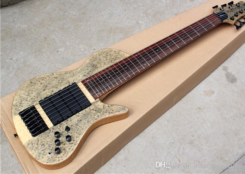 Factory Custom 7 strings ash wood neck-thru-body Electric Bass Guitar with bird eye inlay,black hardware,can be customized