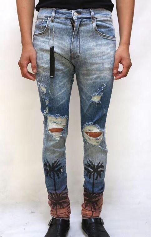 Homens skinny stretch angustiado Palmeira jeans