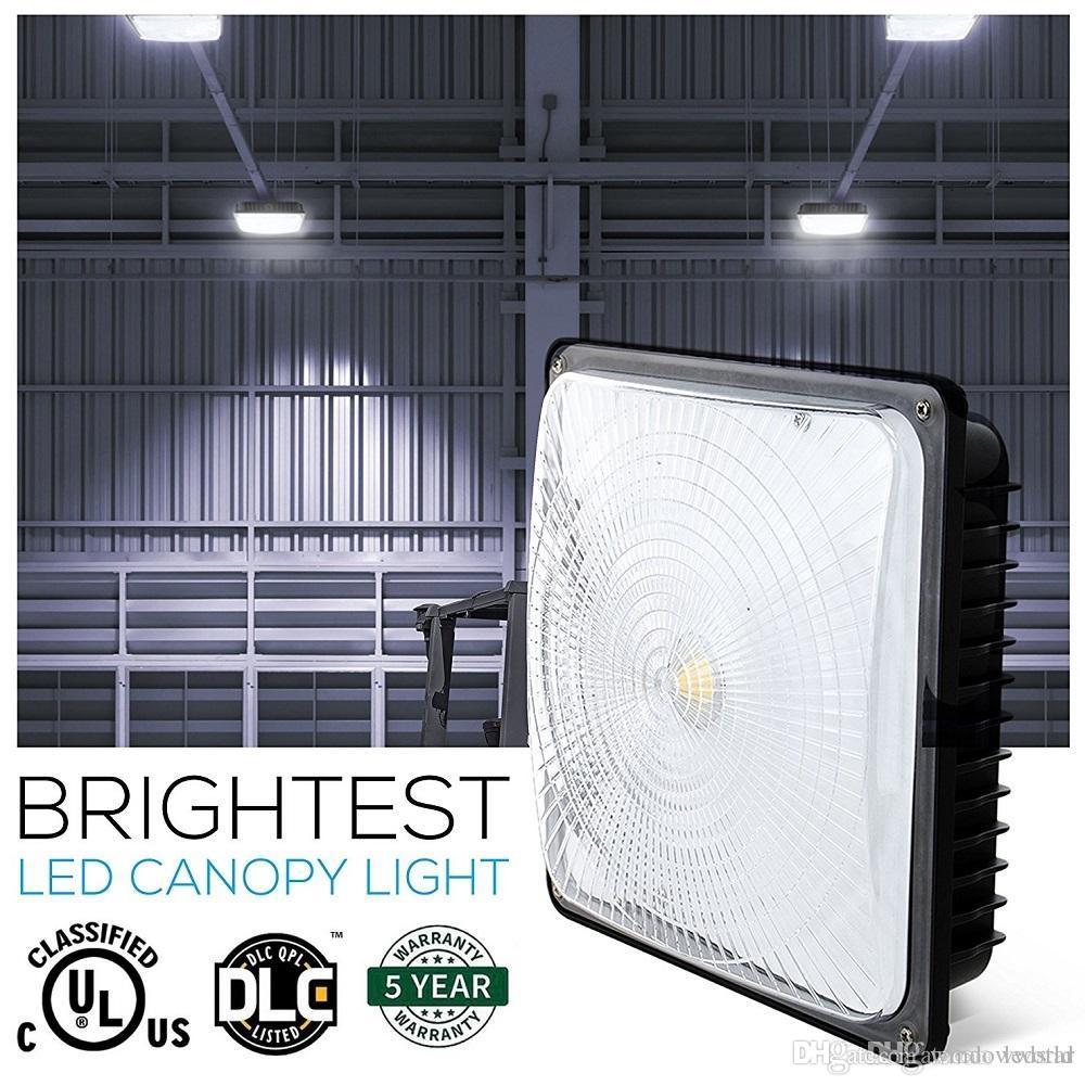 CA 85-277V Alta iluminación de la bahía para almacén Taller Hall Lobby iluminación IP65 impermeable 40W 60W 80W Led Canopy Lights UL DLC
