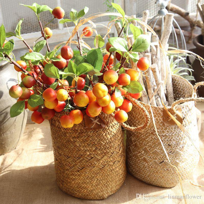 فرع شجرة التفاح الاصطناعي محاكاة رغوة أبل شجرة فرع الفاكهة يترك النباتات وهمية زهرة حفل زفاف الجدول ديكور المنزل النبات