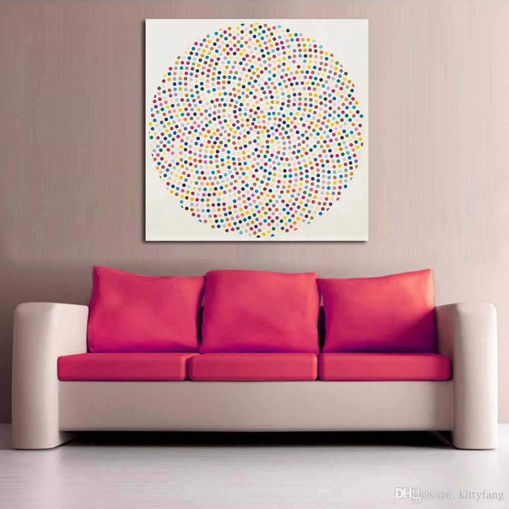 1 Panel Modern Circle Painting Include Many Colorful Dots Printed Canvas Painting Wall Art Picture For Living Room No Frame