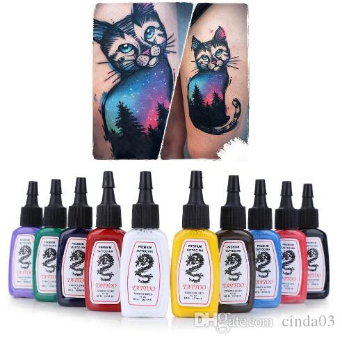 Gros-10pcs / Set Couleurs Lumineux Durable Complet De Tatouage Encre Kit De Pigment De Sourcils De Lèvres Henné Maquillage Permanent Encre Pour Tatouages Encres Corps