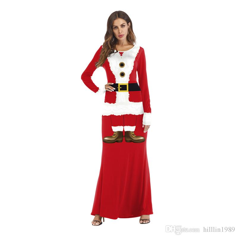 Hot Merry Christmas Party Dress for Women Full Sleeve Crew Neck Red Xmas Santa Claus Print Long Maxi Dresses