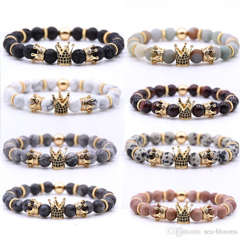 Volcanic Rock Bracelets 8mm Yoga Beads Handmade Beaded Inlaid Zircon Crown Natural Stone Bracelet Bangle Fashion Jewelry Kimter-H800F Z