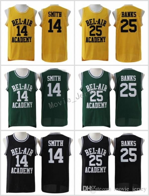 The Fresh Prince of Bel-Air Stitched #14 Will Smith Jersey Bel-Air Academy Movie Version Jersey #25 Carlton Banks Jerseys Black Green Yellow