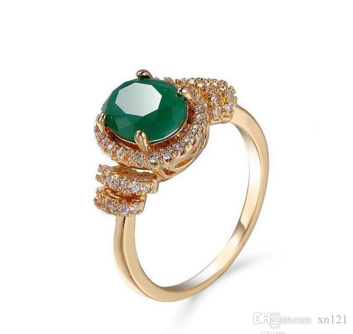 New Hot banhado a ouro embutido vermelho anel de zircão corindo banhado a ouro zircão esmeralda jóias vendas direto da fábrica de jóias