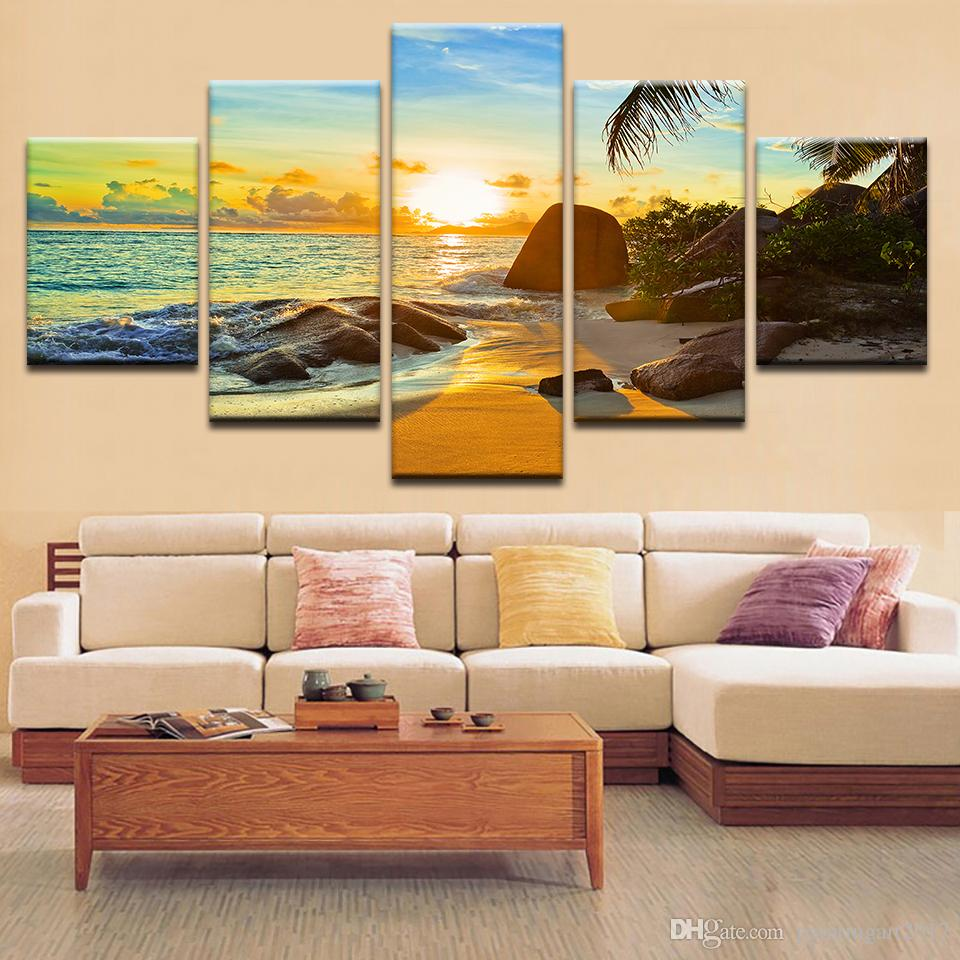 HD Printed Modern Home Decor Living Room Sunset Beach Seascape Canvas Painting Wall Art Modular Poster Pictures No Frame