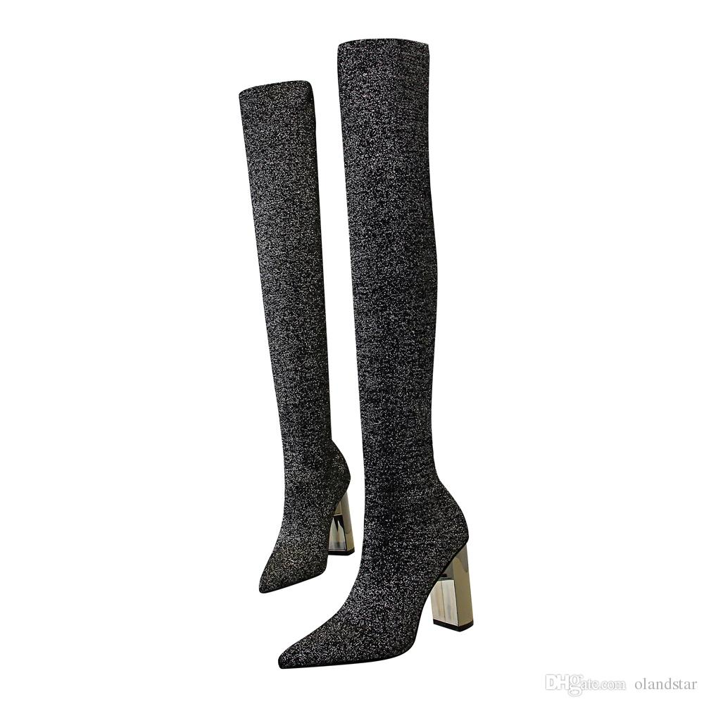 Sexy Thigh-high Lady Knee Boot Dress Shoes Women High Heels Festival Party Wedding Shoes Chunky Formal Pumps Heels Long Boots GWS586