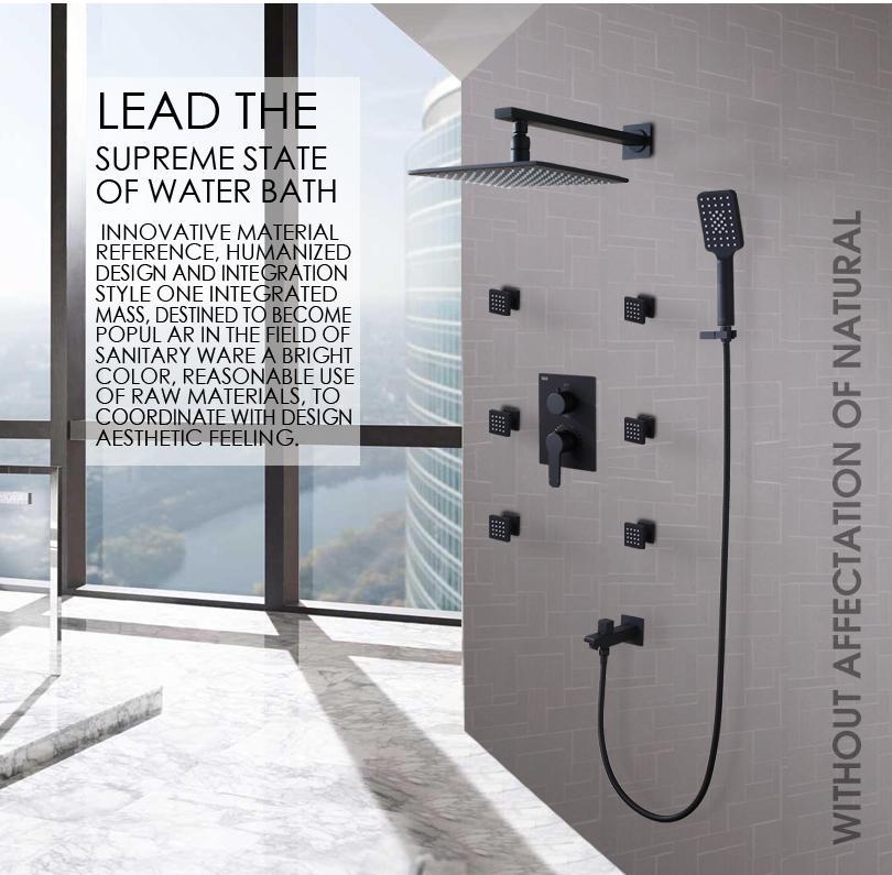 Hot And Cold Thermostatic Mixer Valve Bathroom Shower Faucet Set 250X250 LED Temperature Sensitive Rain Shower Head Bath & Shower Mixer Tap