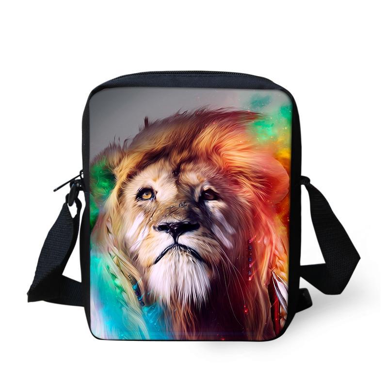Cool Lion Animaux Imprimer Sacs à main Sacs Messenger sac à bandoulière mini-Bookbag Cartable Daily épaule Satchel style décontracté 2018