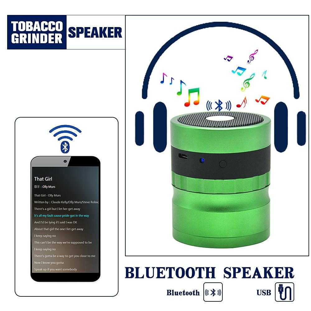 Bluetooth Speakers Grinder 2 in 1 Audio grinders 62mm with Aluminum Tobacco Cigarette Grinder Spice Crusher Car Audio GGA995