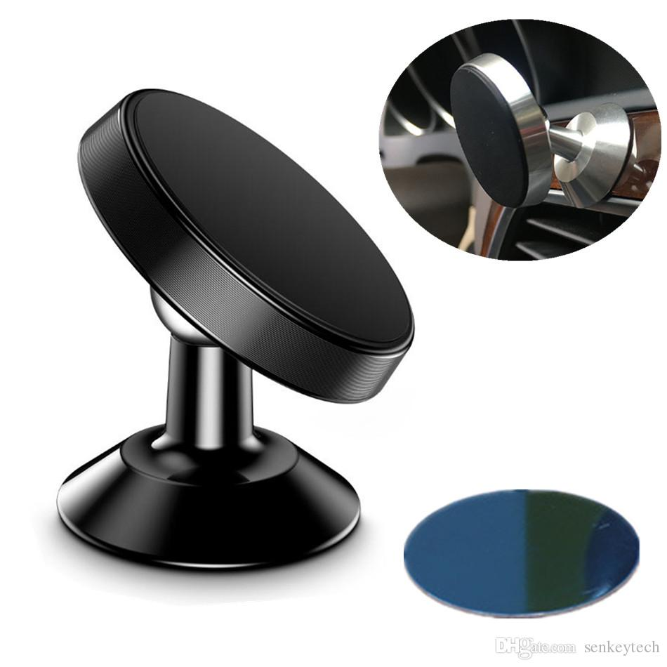360° Rotation Strong Magnetic Car Bracket Phone Holder Aluminium Alloy Metal Desktop Magnetic Mount For Samsung iPhone Cellphone