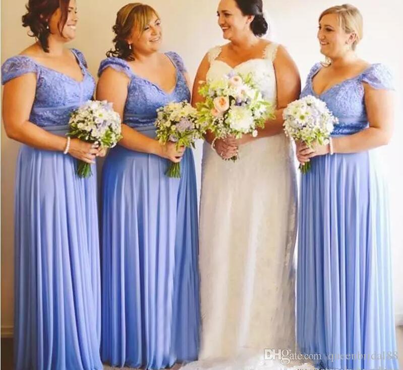 2018 Plus Size Bridesmaid Dresses Lace Portrait Neckline Ruched Chiffon  Wedding Guest Dress Long Maid Of Honor Party Gowns Teal Bridesmaids Dresses  ...