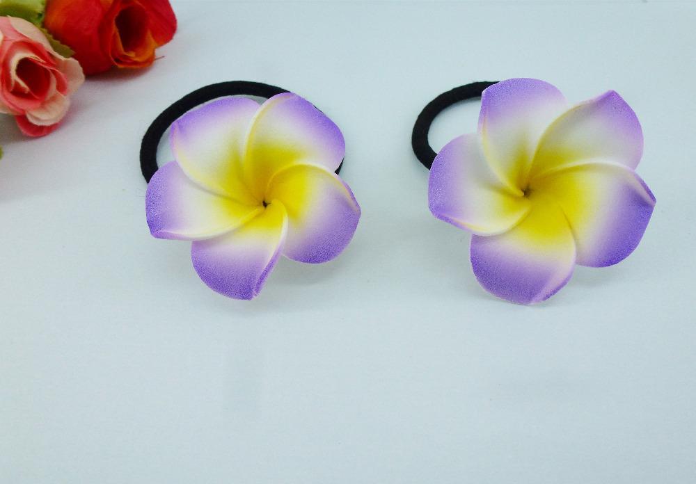 Hawaiian PLUMERIA FLOWER FOAM HAIR CLIP Purple Yellow