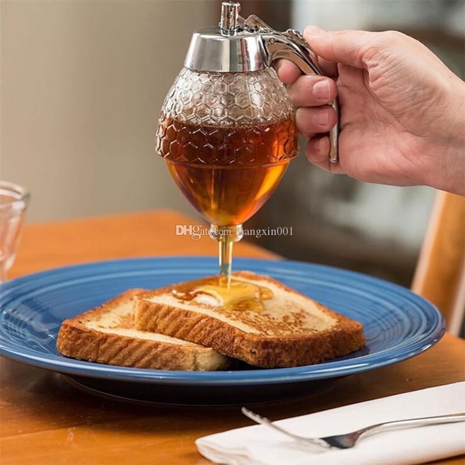 Jarabe 200ml Dispensador pote de cristal de nido de abeja de la vendimia Botella Miel Squeeze Almacenamiento de cocina tarro de miel del envase dispensador Pot