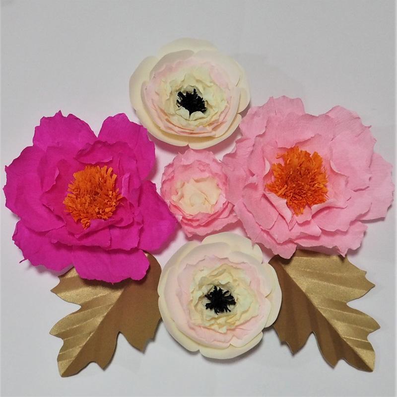 Dev Krep Kağıt Yapay Çiçekler Düğün Olay Dekor Için 5 ADET + 2 Yapraklar Bebek Kreş El Yapımı El Sanatları Özelleştirilmiş Süslemeleri Ev Deco