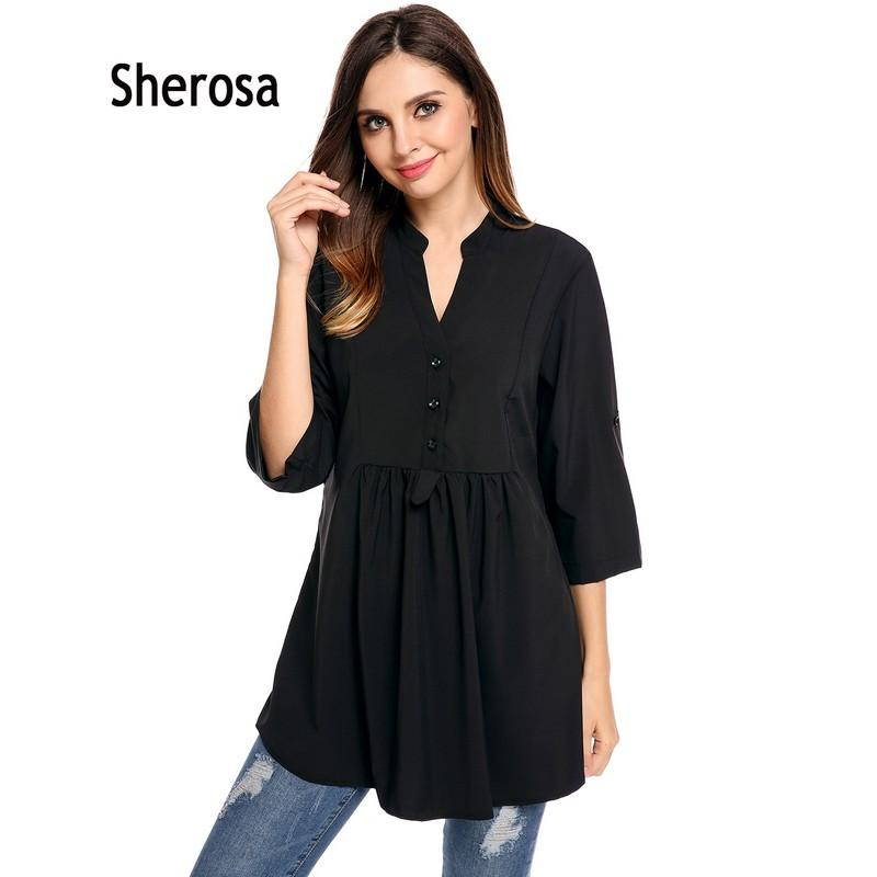 af8db51d050bf6 Sherosa Plus Size Long Tunic Tops For Women Vintage Shirt Casual V-Neck 3/4  Sleeve Solid A-Line Pleated Circular Arc Hem Blouse